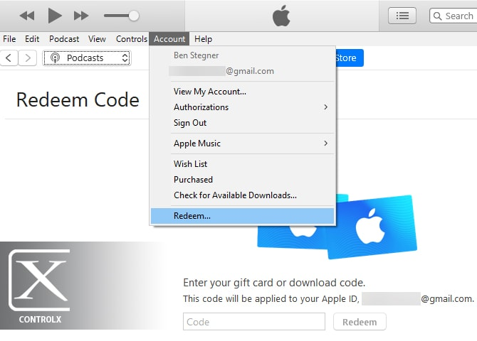 iTunes Windows Redeem